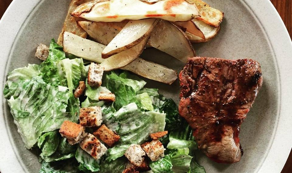 Steak & Frites with Ceasar Salad (health-i-fied)