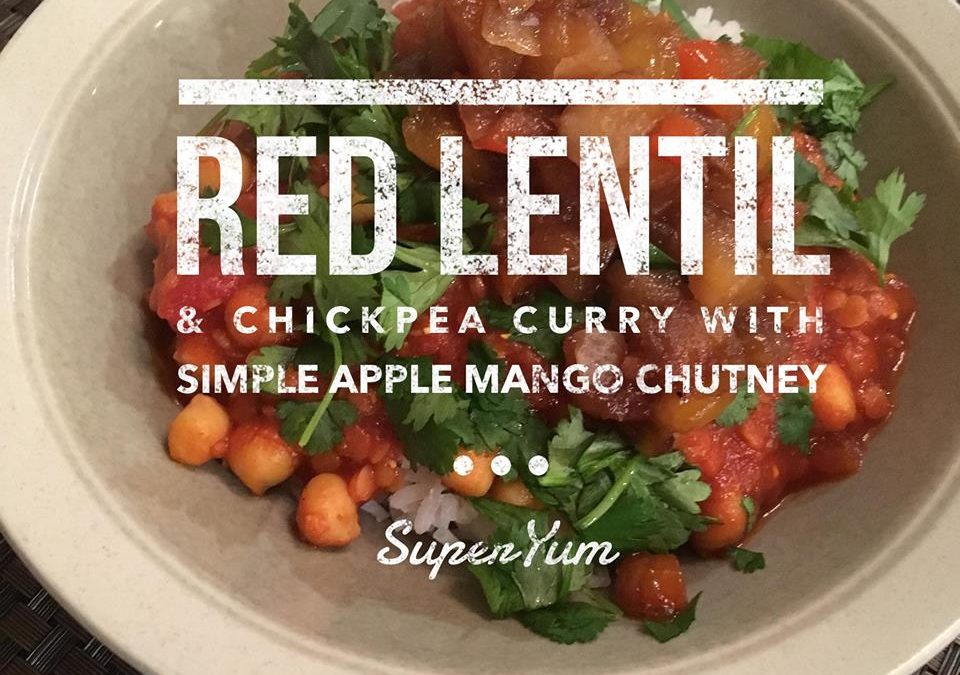 Red Lentil and Chickpea Curry with Simple Chutney
